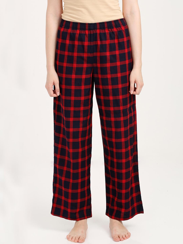Buy OLLI Women Red   Navy Blue Checked Pyjamas OLLIWPJCK003 ... 93693f5b6