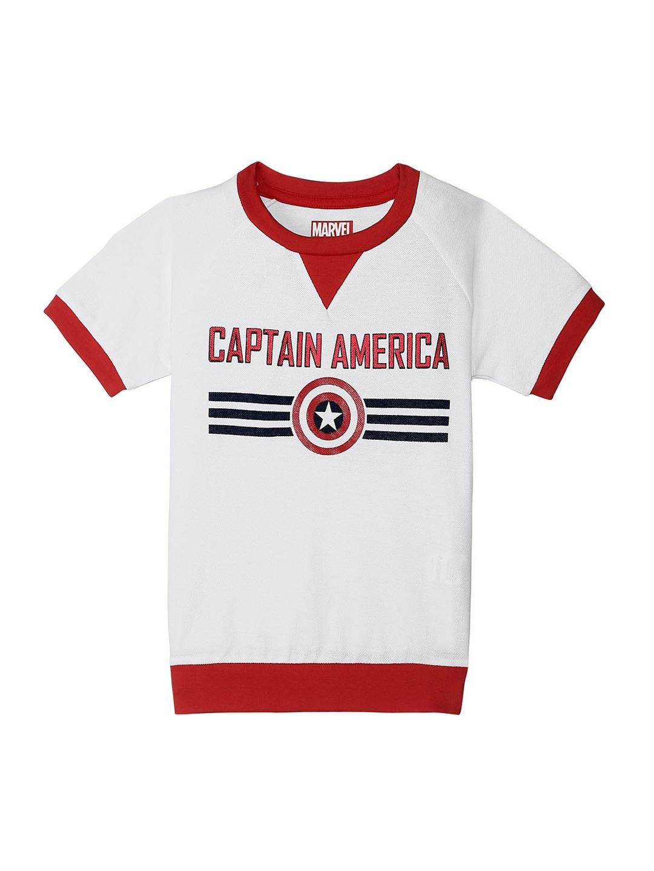 sale retailer c4984 796cf Kids Ville Boys White Captain America Print Round Neck T-shirt