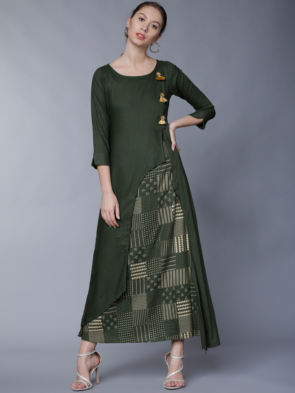 74074aa2ae2 Buy Vishudh Women Olive Green Solid A Line Kurta - Kurtas for Women ...
