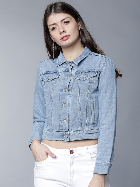 efdca9eba0b Buy Tokyo Talkies Women Blue Solid Denim Jacket - Jackets for Women ...