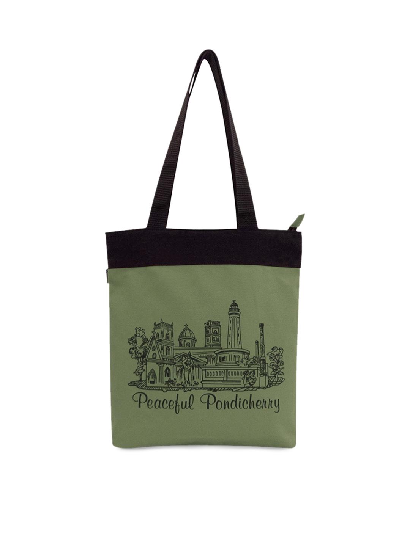 BagTrendz Green Printed Tote Bag