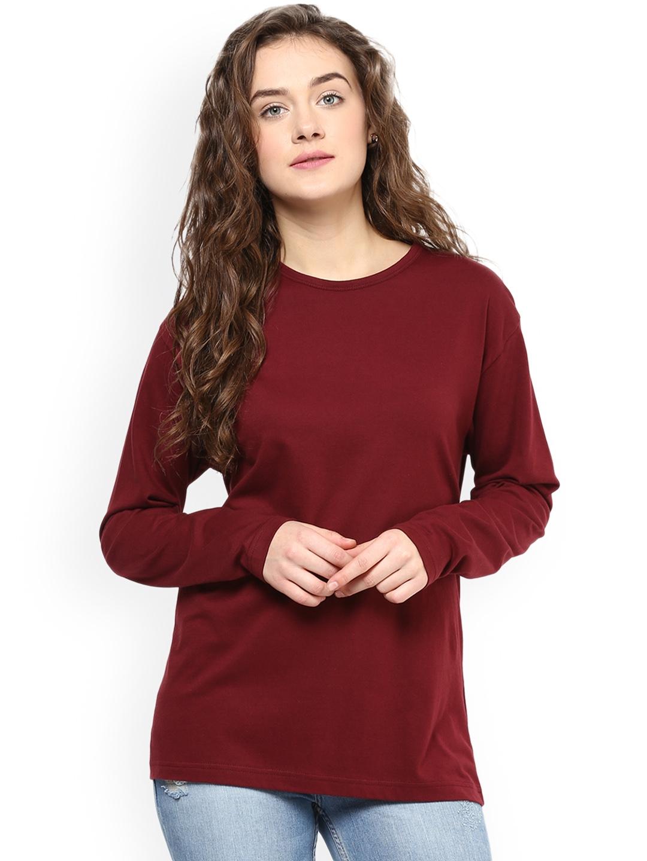 Hypernation Women Maroon Solid Round Neck T shirt