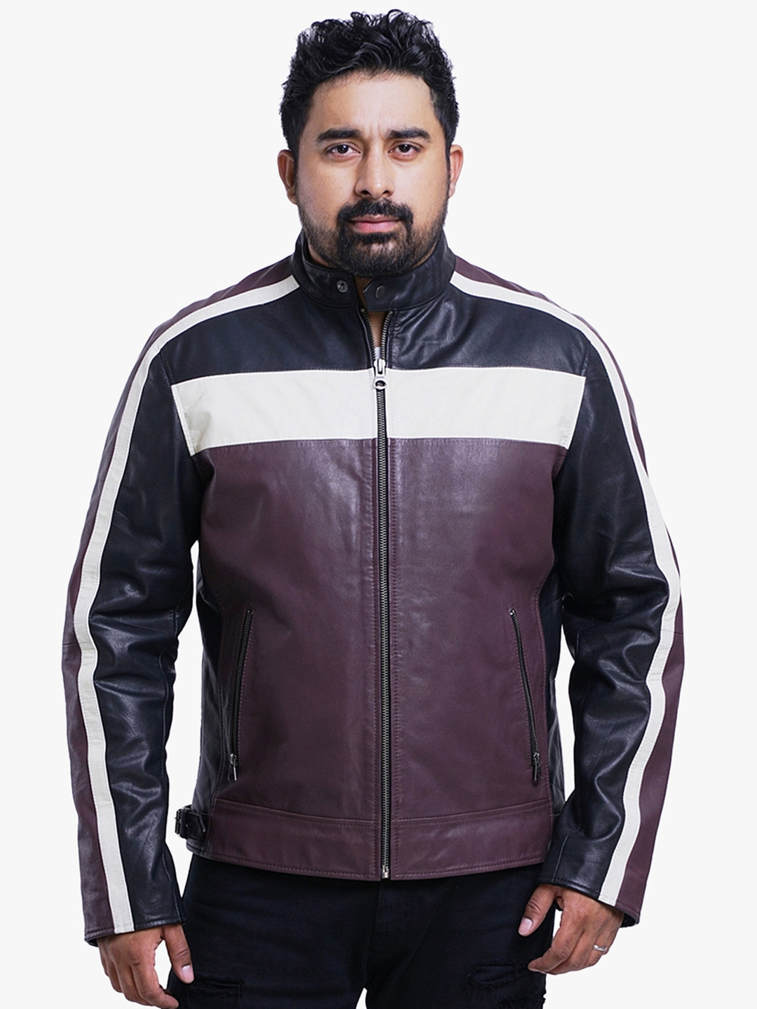 df4d5d7b7 Roadies by Justanned Men Brown Colourblocked Leather Jacket