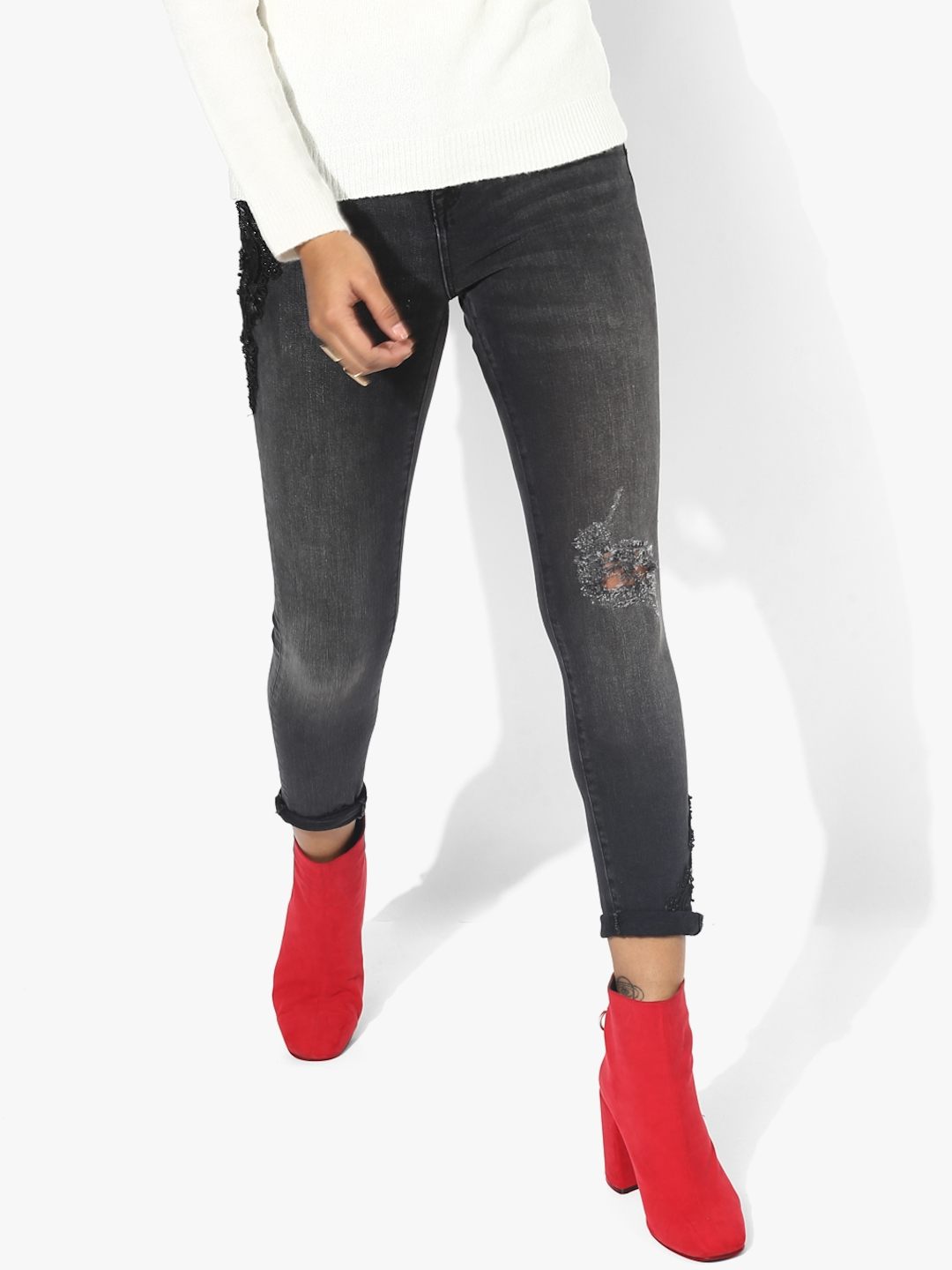 Buy Dark Grey Washed Mid Rise Skinny Fit Jeans - Jeans for Women ... cb81d47f3