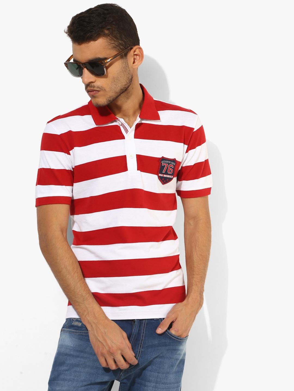 eb7537844fce47 Buy Jockey Men Red & White Striped Regular Fit Polo T Shirt ...