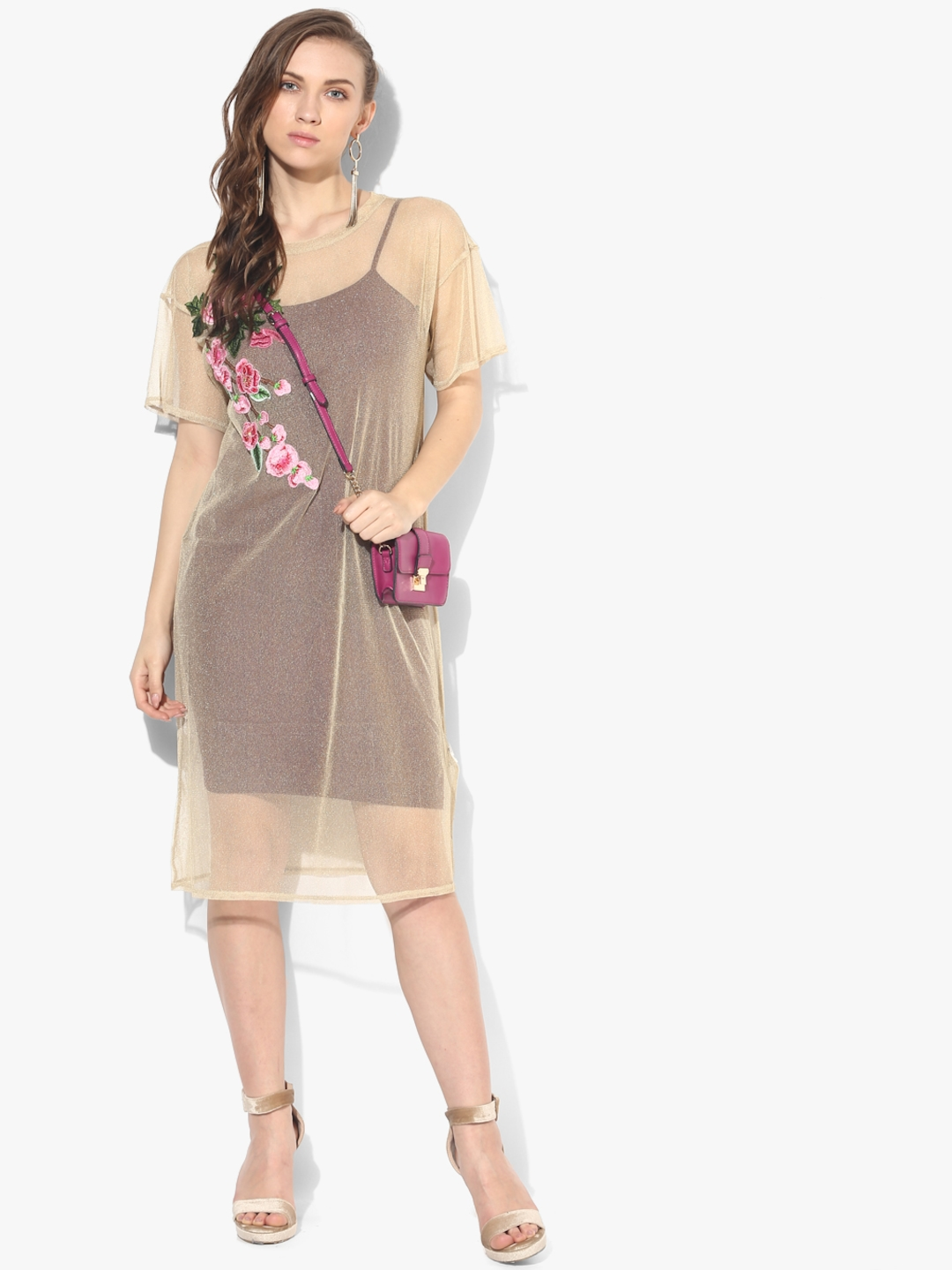 27970ca9db6d Buy Beige Coloured Embroidered Shift Dress - Dresses for Women ...
