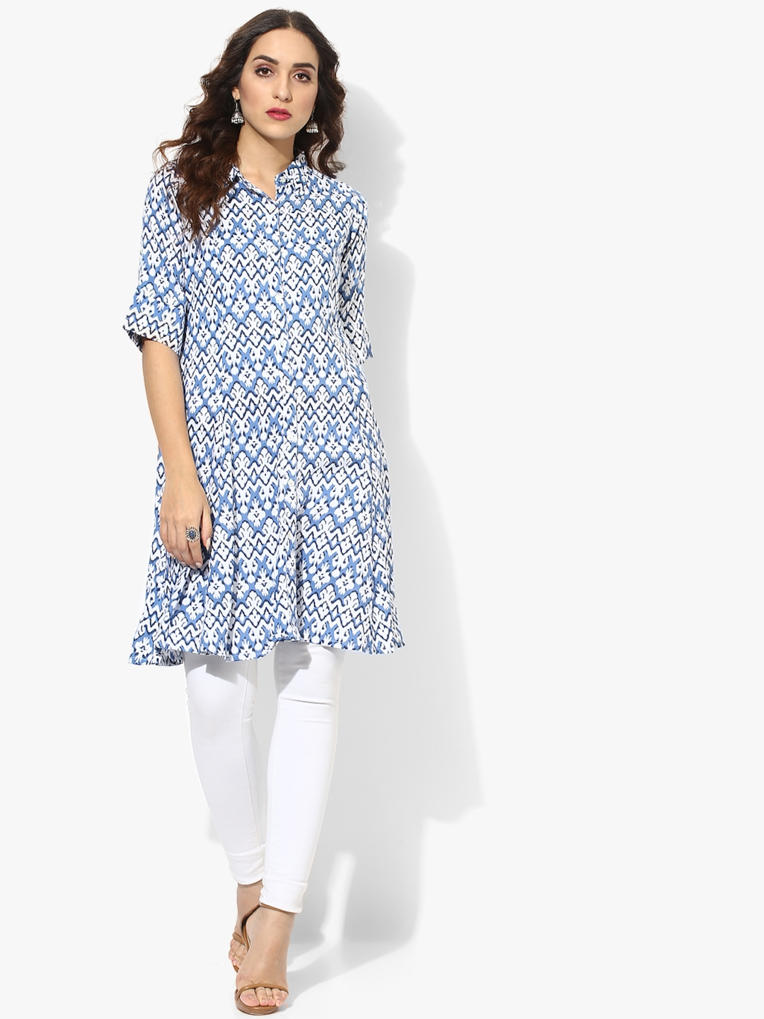 ddf3960815a Buy Band Collar Rayon Printed Tunic With Elbow Sleeves - Tunics for ...
