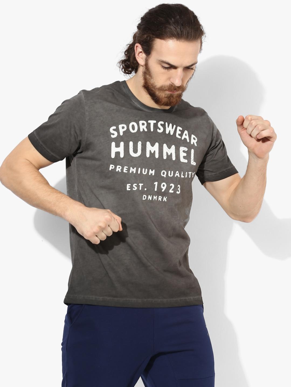 Dark Grey Printed Round Neck T Shirt