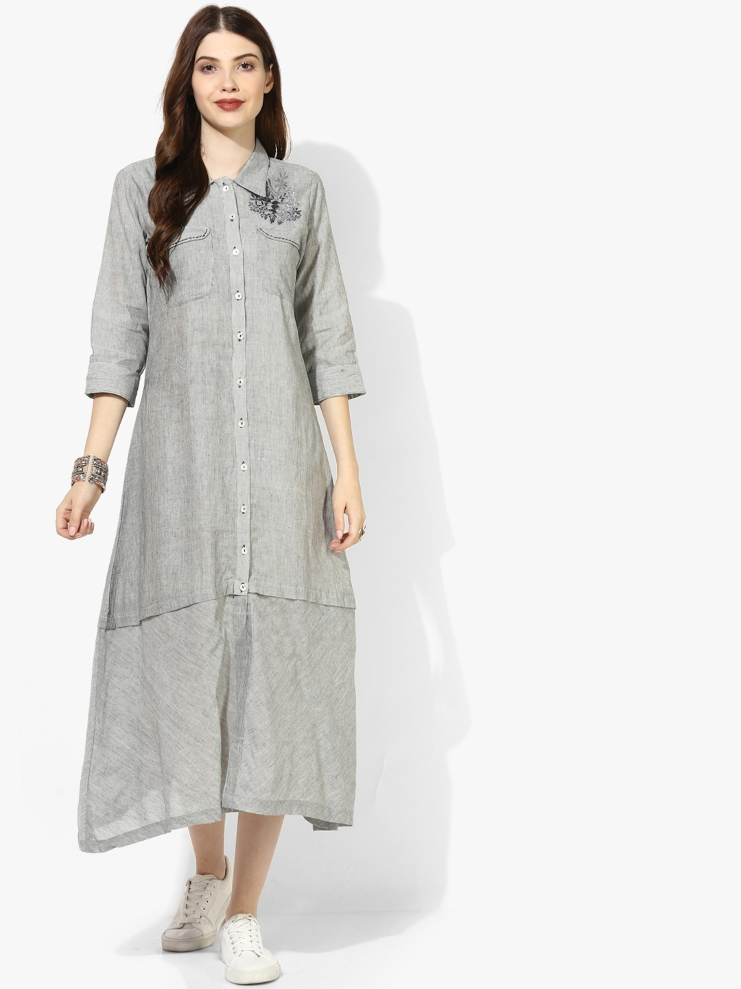 a6482ac6a2 Shirt Collar Yarn Dyed Cotton Shirt Dress With Patch Pockets And Embroidery  Detail