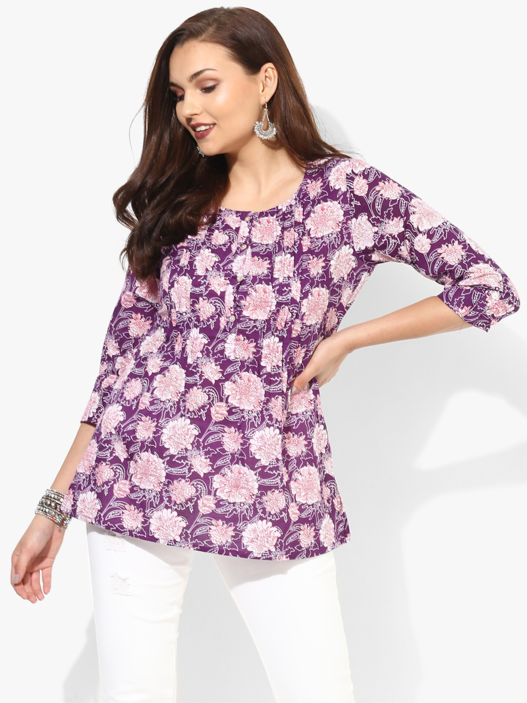 Round Neck 3/4Th Sleeves Floral Printed Top