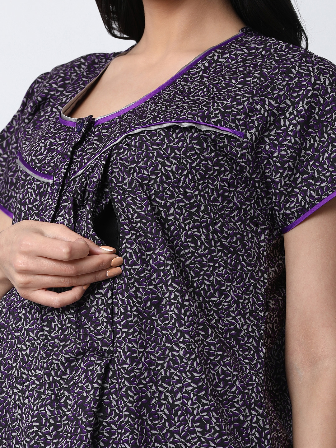 8359a66bf6f7f Buy GOLDSTROMS Purple & Black Printed Maternity Tunic - Tunics for ...