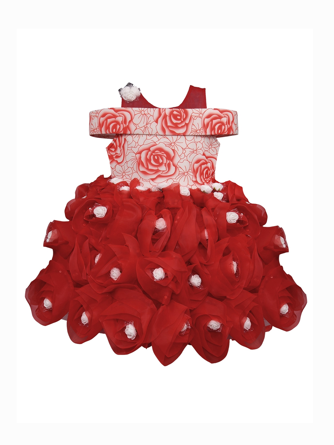 a12dc6139 Buy Wish Karo Girls Red Printed Fit And Flare Dress - Dresses for ...