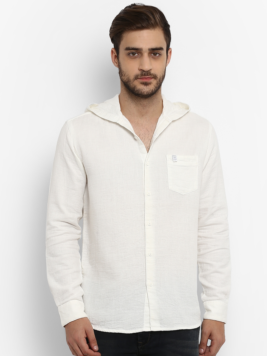 52a39e2b7e Buy Mufti Men White Slim Fit Solid Casual Hooded Shirt - Shirts for ...