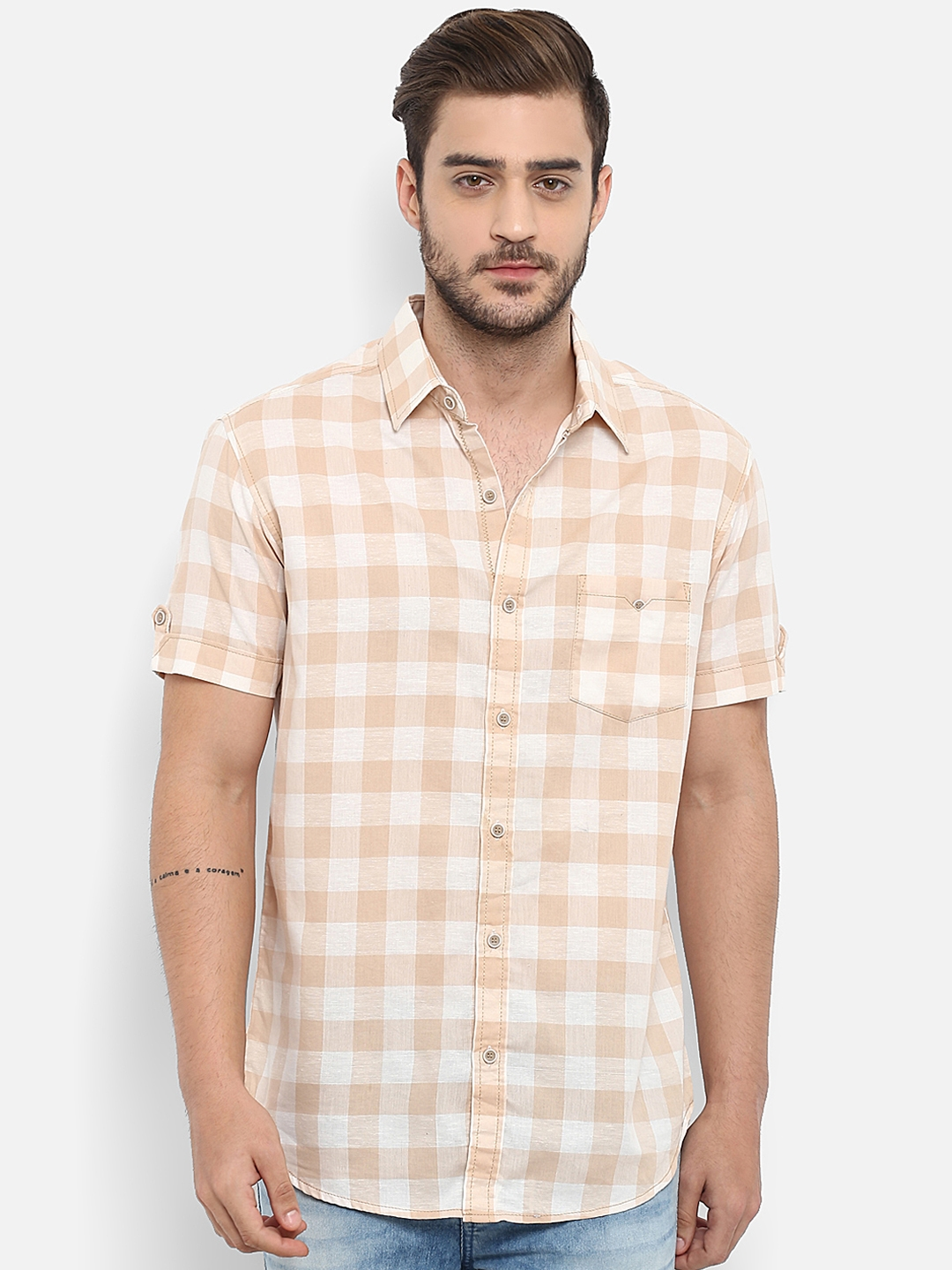 c2007c397ca Buy Mufti Men Beige Slim Fit Checked Casual Shirt - Shirts for Men ...