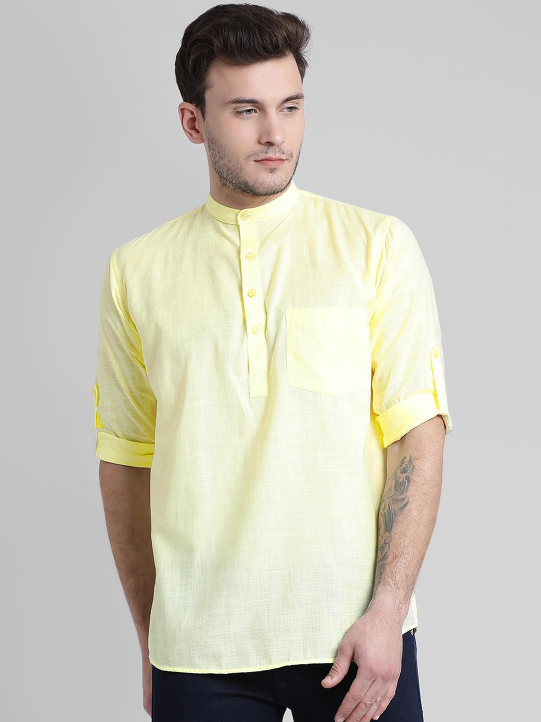 Being Fab Men Yellow Regular Fit Solid Casual Shirt