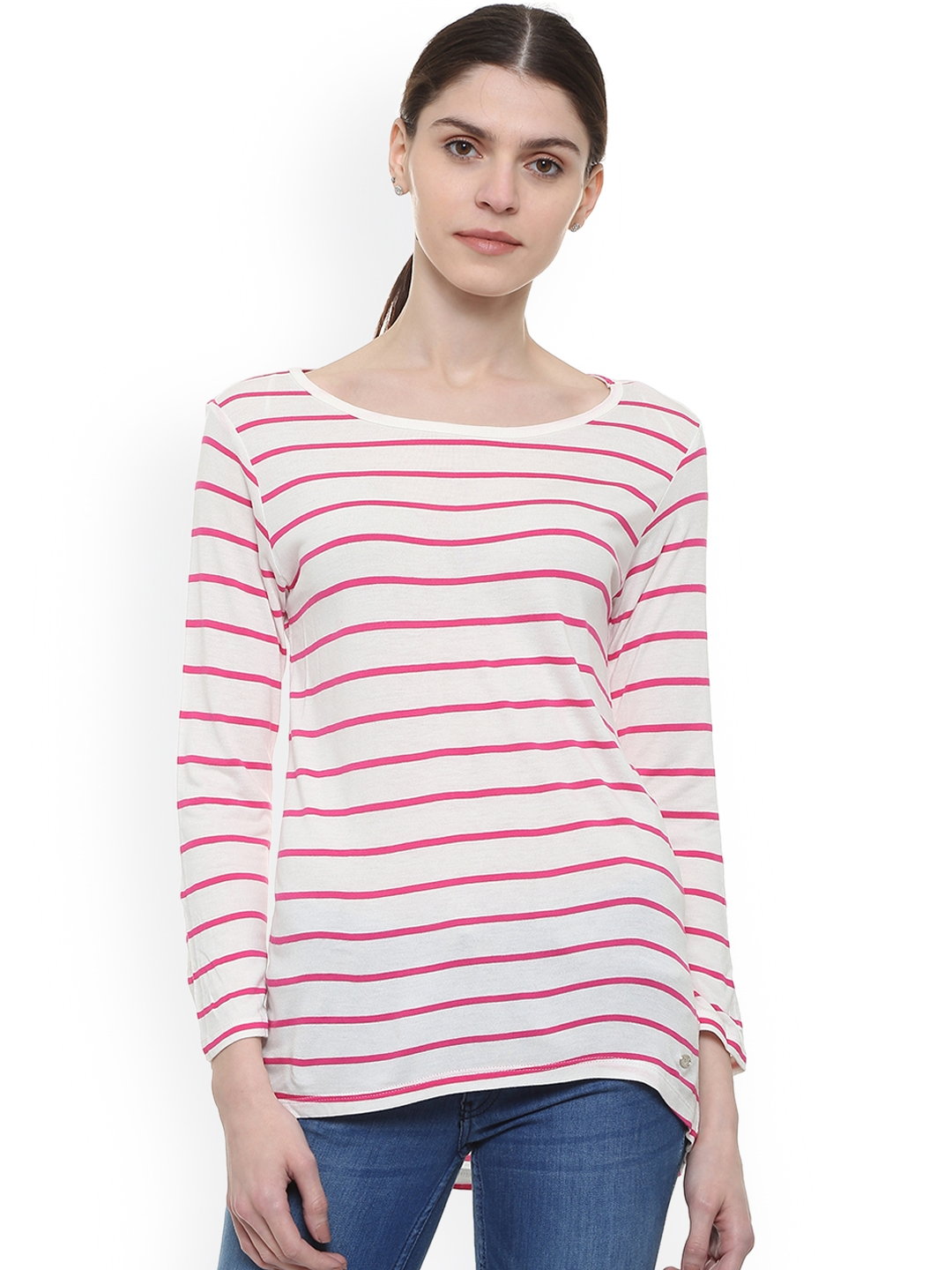Allen Solly Woman Women Pink   off White Striped Top