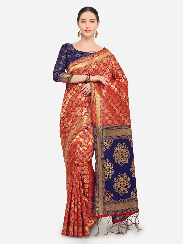 aa374901dc Buy Saree Swarg Red & Navy Blue Silk Blend Woven Design Banarasi ...