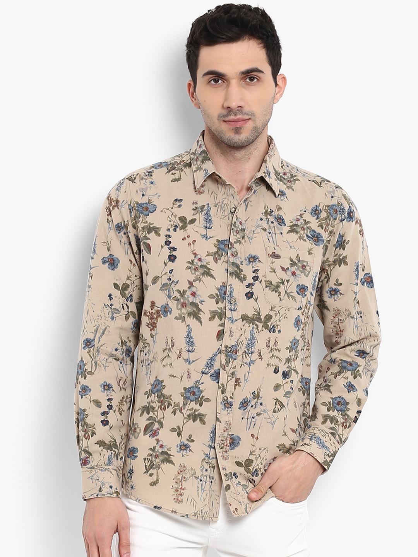 7a2f1c61 Buy Mufti Men Khaki & Blue Slim Fit Floral Print Casual Shirt ...
