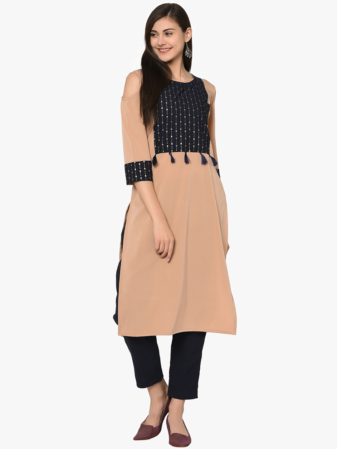 ZIYAA Women Nude Coloured   Black Self Design Kurti with Trousers