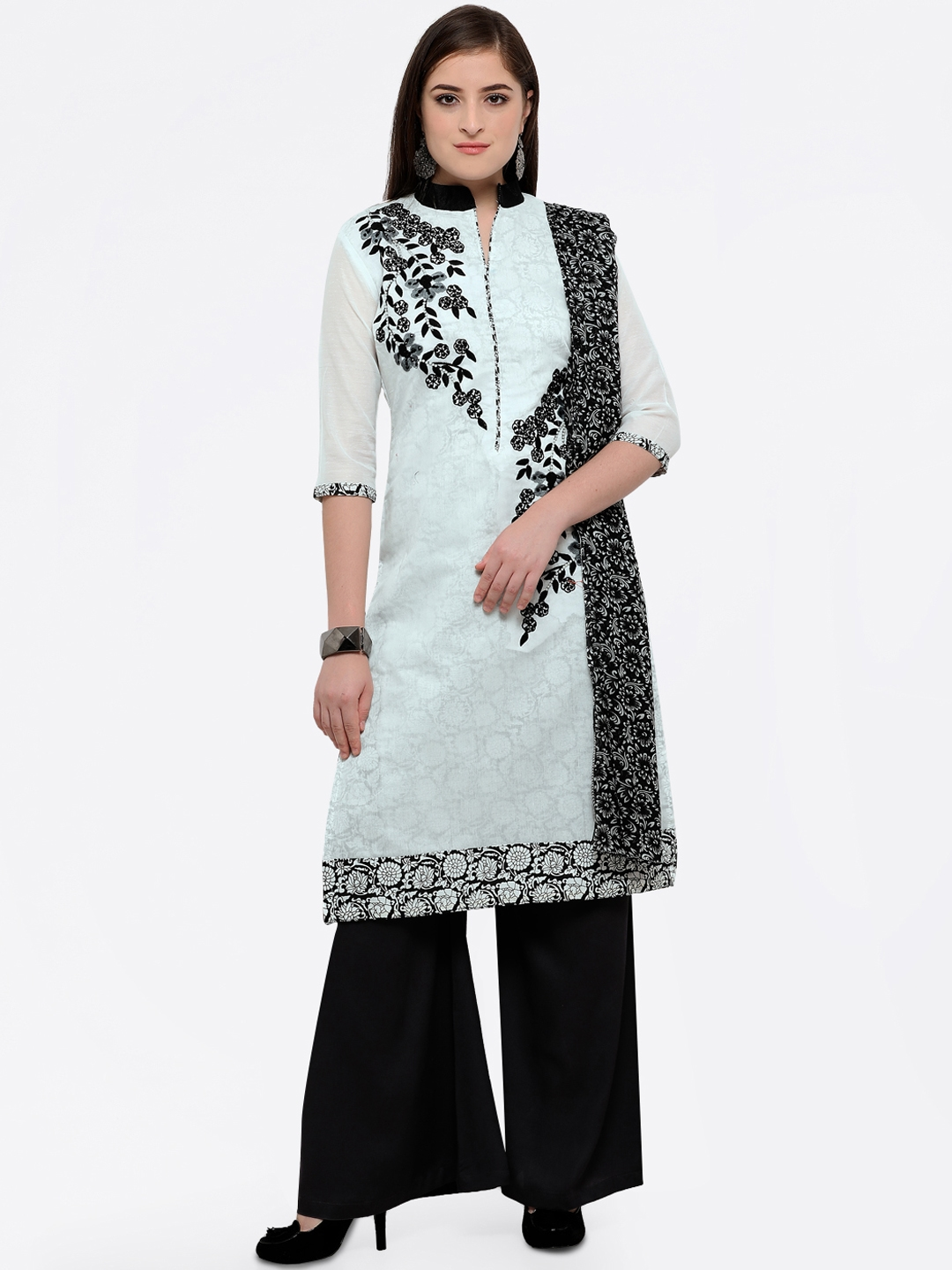 1b3bba6d20 MANVAA Off-White & Black Cotton Blend Printed Embroidered Semi-Stitched  Dress Material