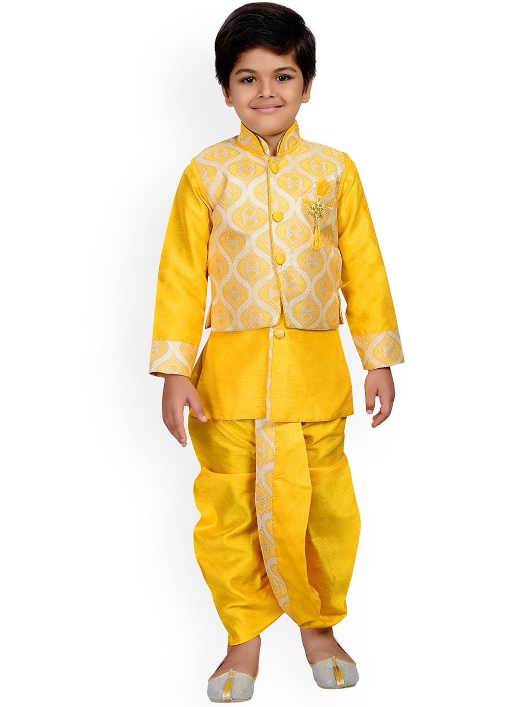 63f96f8abc2 Buy Aj DEZInES Boys Yellow Self Design Kurta With Dhoti Pants ...