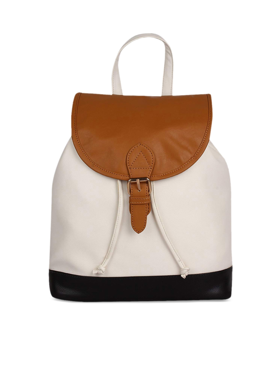 Lychee bags White   Tan Brown Colourblocked Shoulder Bag