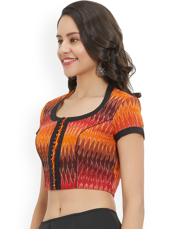 a110eeca366e67 Buy Just B Women Orange & Black Printed Blouse - Saree Blouse for ...