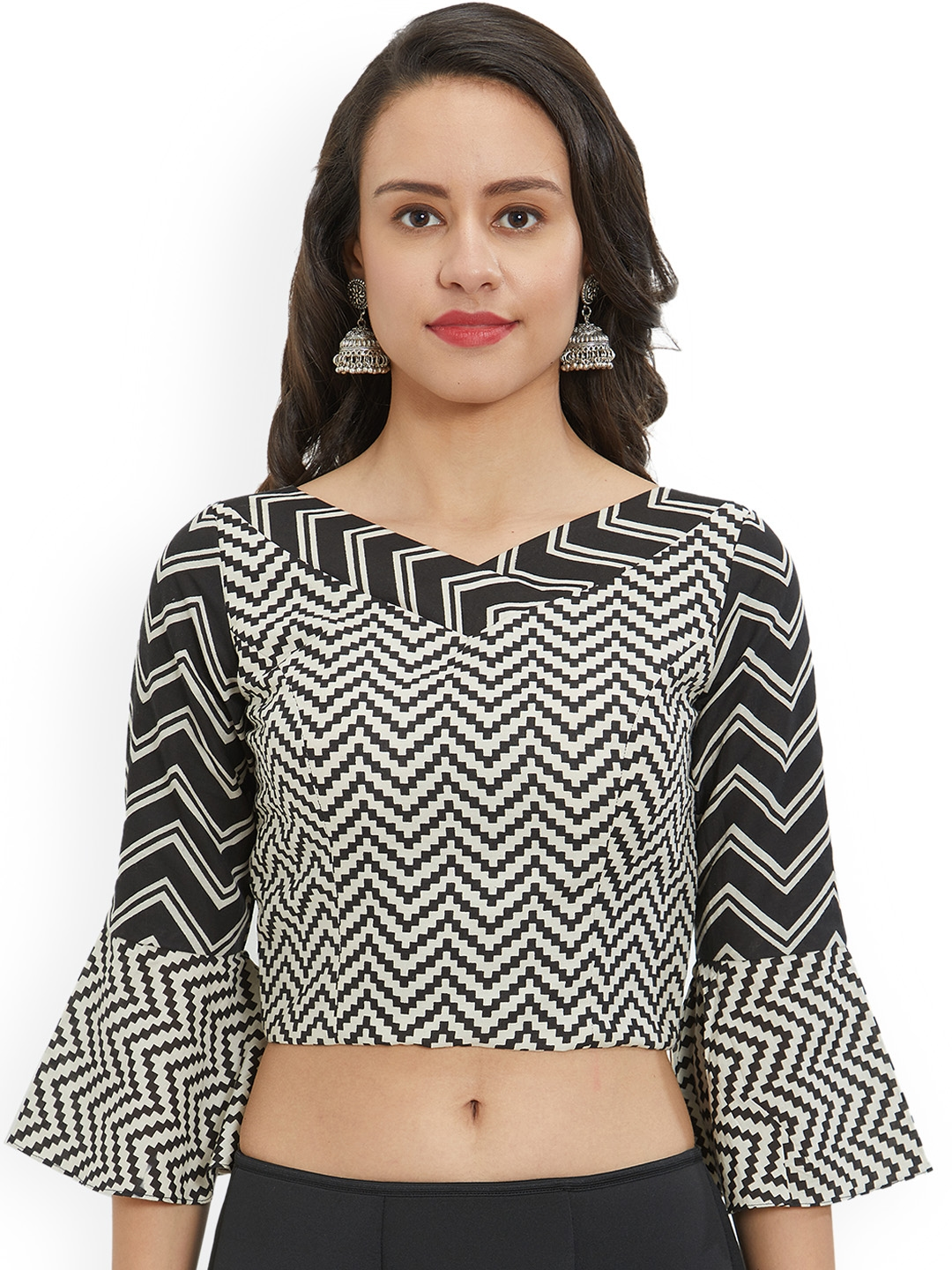 514d0a450deca7 Buy Just B Women Black & White Printed Blouse - Saree Blouse for ...