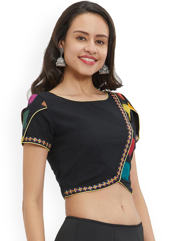 a8409907b5025c Buy Just B Women Black Printed Blouse - Saree Blouse for Women ...