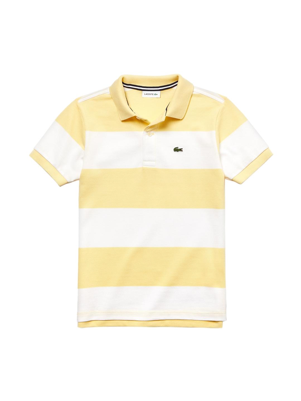 c9cf23483 Buy Lacoste Boys Yellow Striped Polo Collar T Shirt - Tshirts for ...