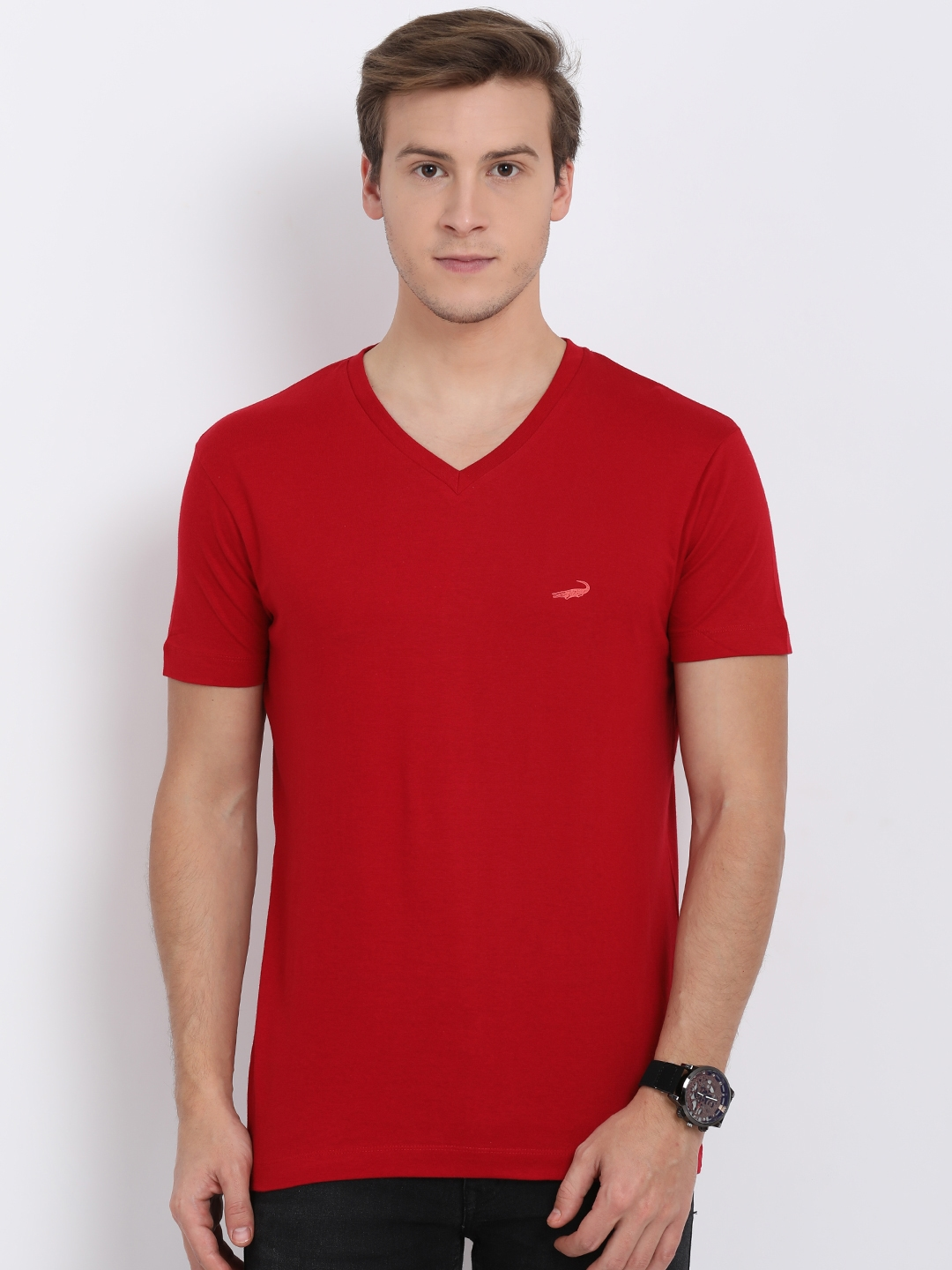 fbe98eed3d2a Buy Crocodile Men Red Solid V Neck T Shirt - Tshirts for Men 8629943 ...