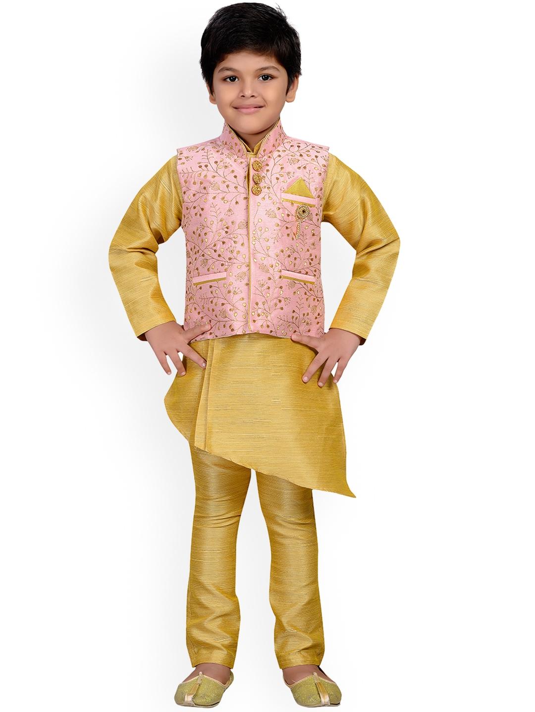 AJ Dezines Kids Beige   Pink Kurta Pyjama Waistcoat Set for Boys