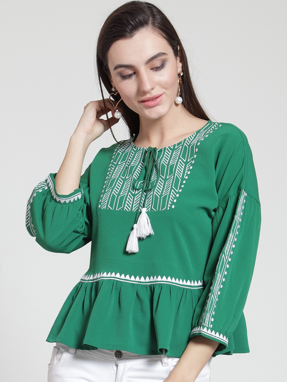 ea0070bd6ea Buy PlusS Women Green Printed Peplum Top - Tops for Women 8392575 ...