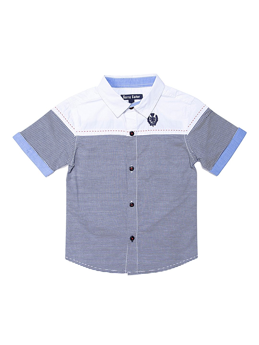 58bc3c4c Buy Terry Fator Boys Blue Comfort Regular Fit Striped Casual Shirt ...