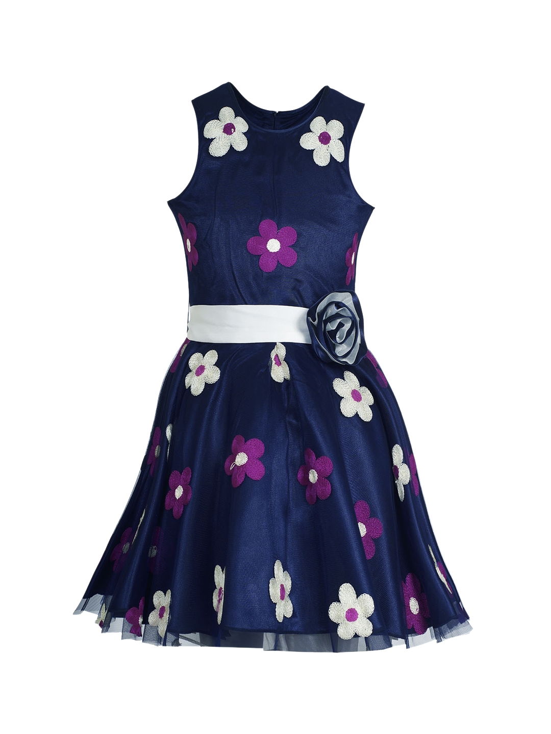 0007a4e8 Buy Naughty Ninos Girls Navy Blue Solid Fit And Flare Dress ...