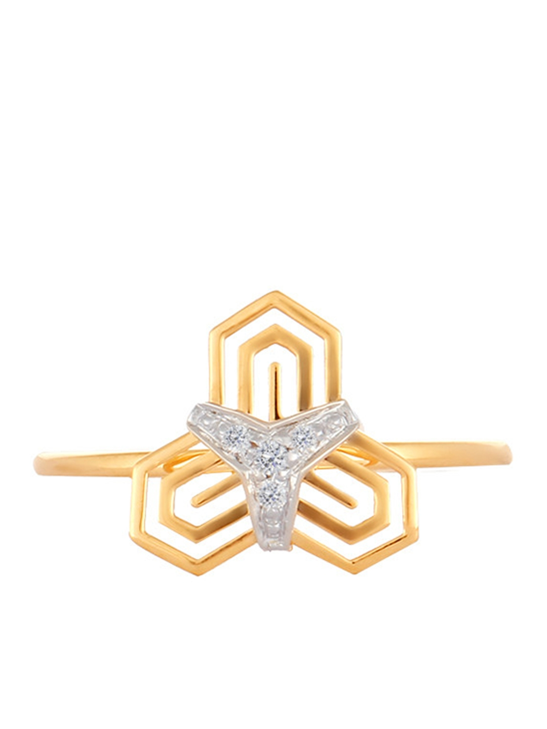 Mia by Tanishq 14KT Yellow Gold Toned Ring With Diamond