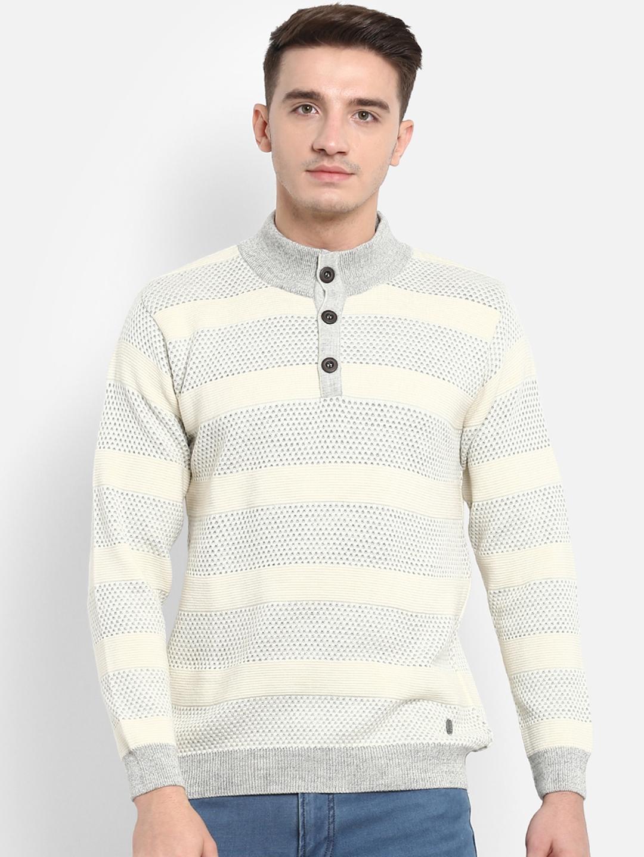 e06f756244 Buy Monte Carlo Men Grey   Off White Striped Pullover - Sweaters for ...