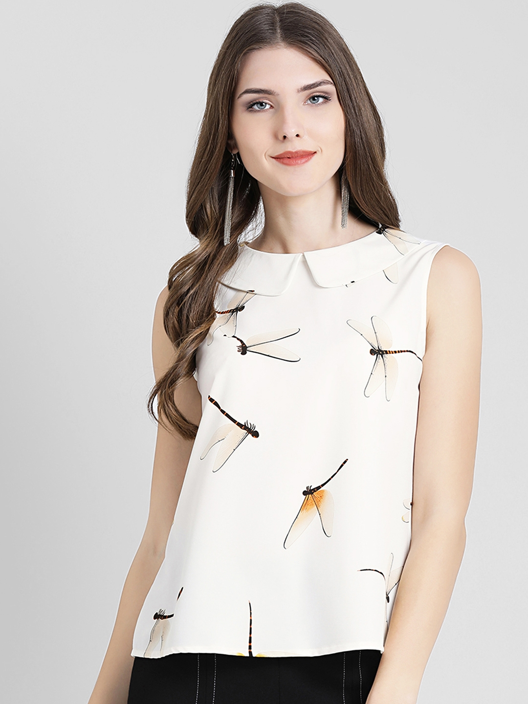 Zink London Women Off White Printed Top