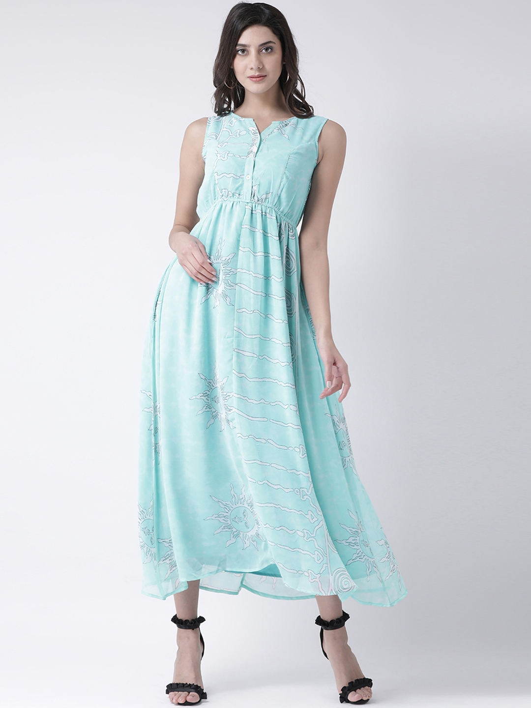 The Vanca Women Turquoise Blue Printed Fit and Flare Dress