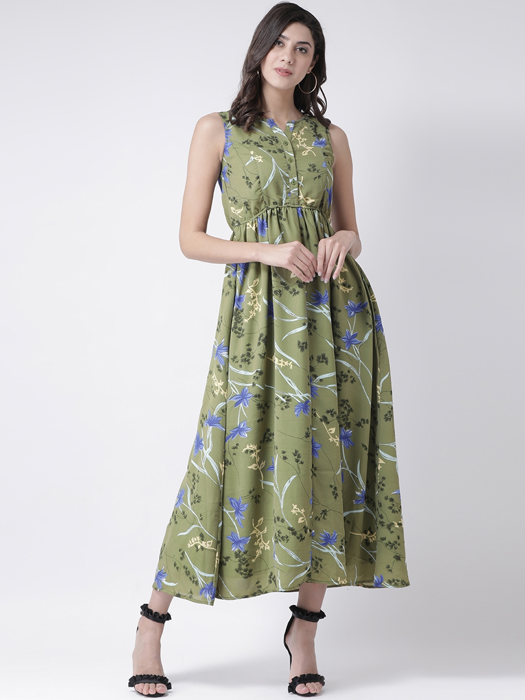 The Vanca Women Green Printed Fit and Flare Dress