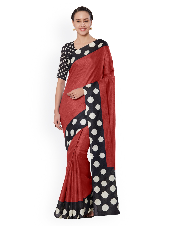 Mirchi Fashion Red Printed Art Silk Saree