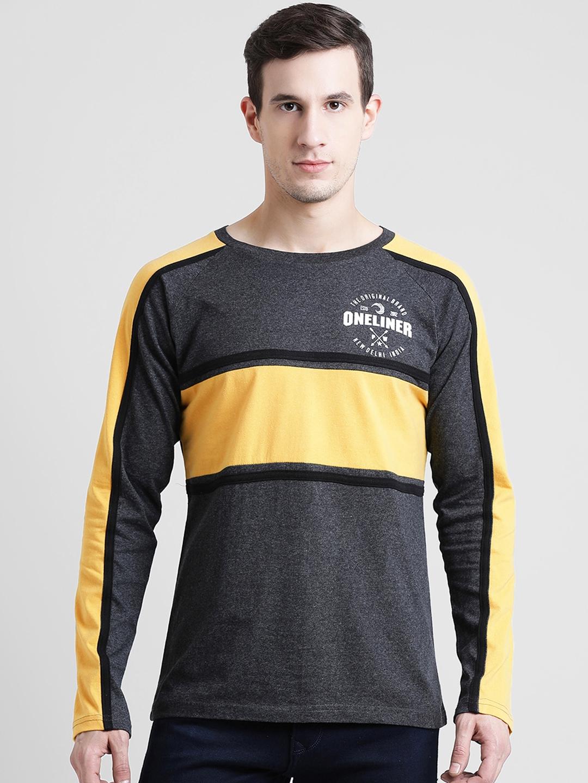 oneliner Men Charcoal Colourblocked Round Neck T shirt