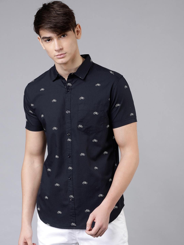 HIGHLANDER Men Navy Blue   White Slim Fit Printed Casual Shirt