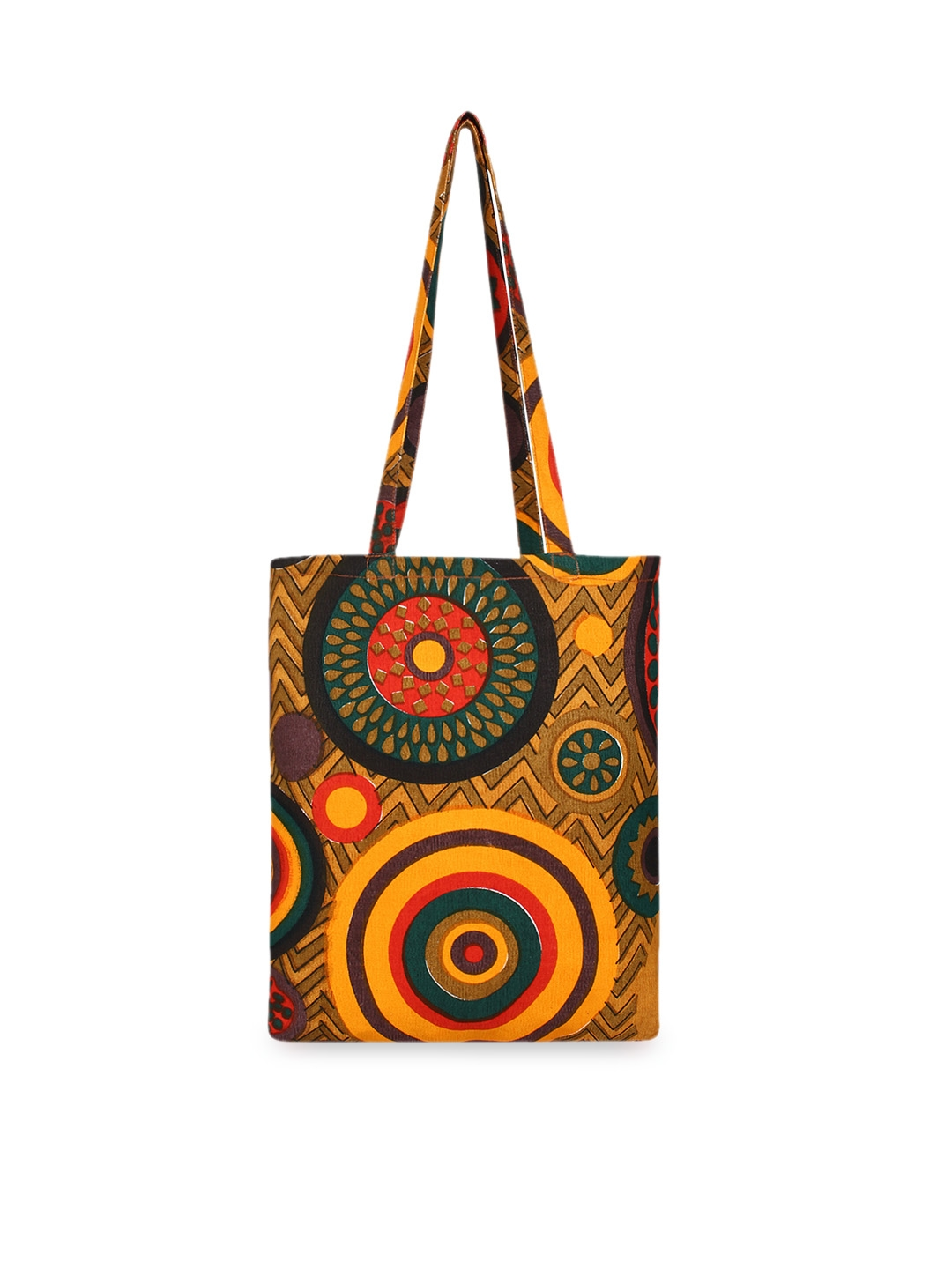 Anekaant Yellow Printed Tote Bag
