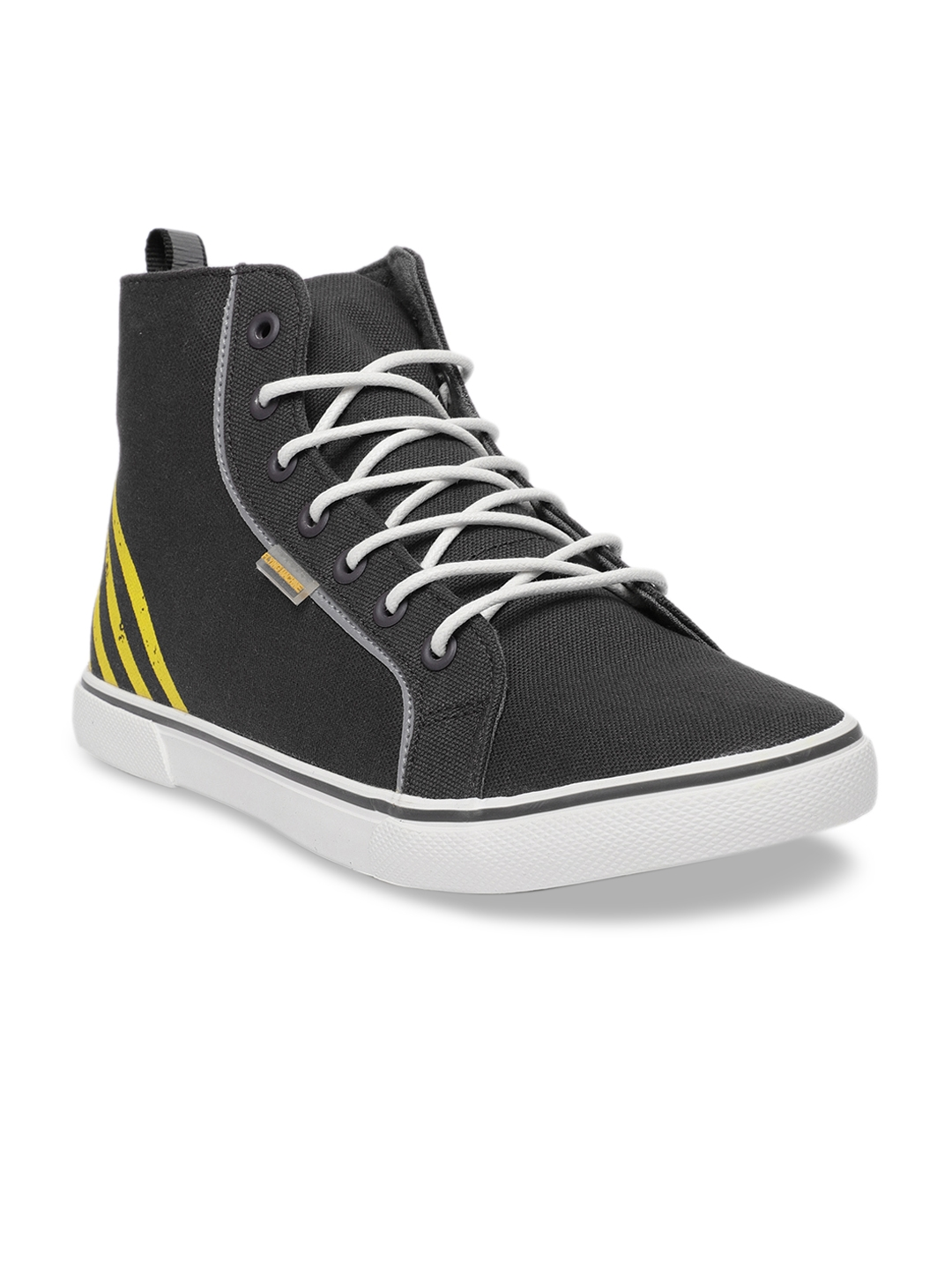 Flying Machine Men Grey Striped Synthetic Leather Mid Top Sneakers