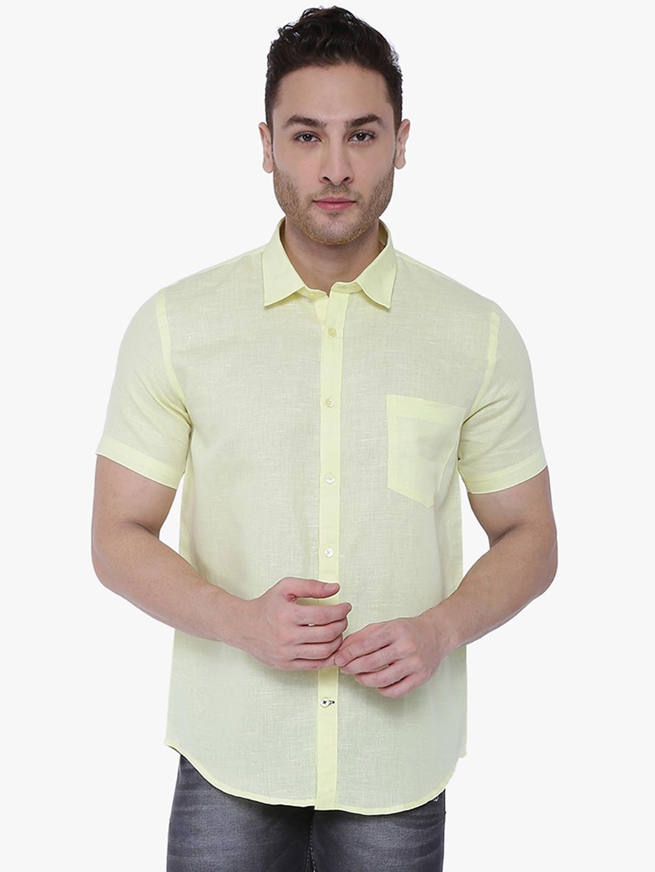 Southbay Men Yellow Custom Tailored Fit Self Design Formal Shirt
