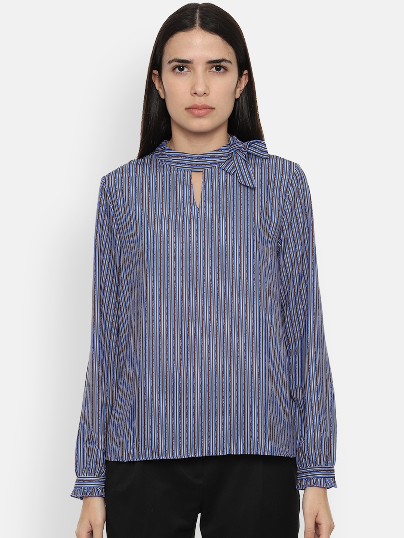 Van Heusen Woman Women Blue Striped Top