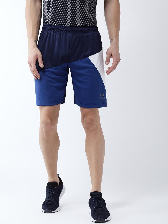 Masch Sports Men Navy Blue Solid Regular Fit Sports Shorts