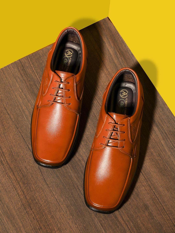 Alberto Torresi Men Brown Solid Semi Formal Derby Shoes