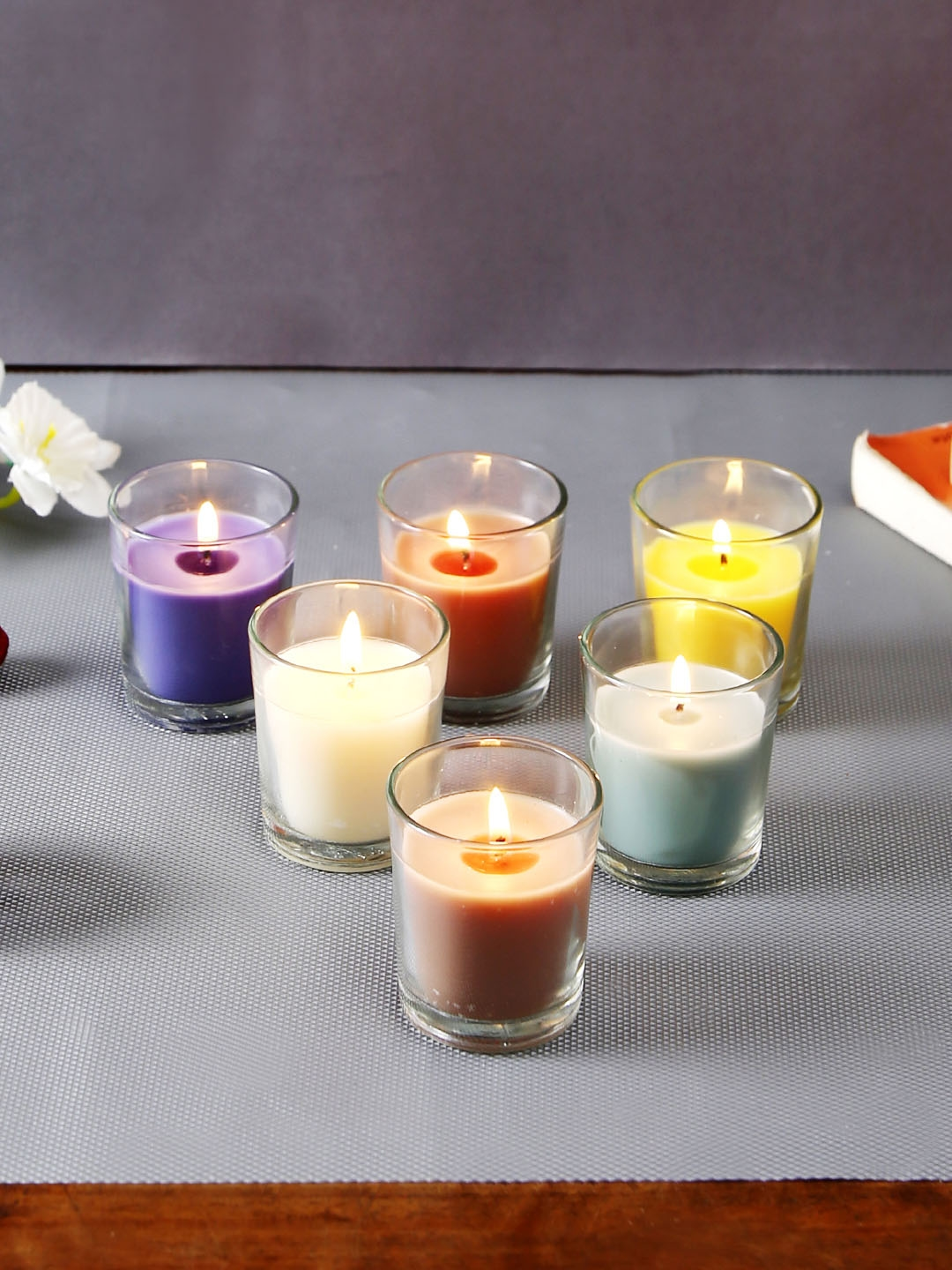 Hosley Set of 6 Fragrance Glass Candles